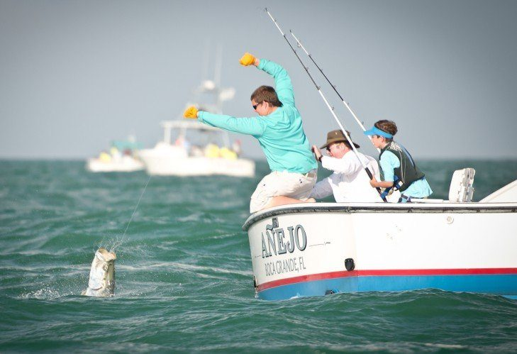 fighting with tarpon fish